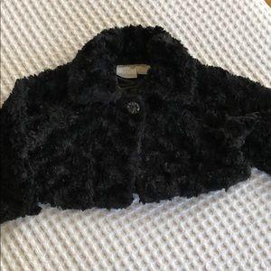 Crop faux fur coat